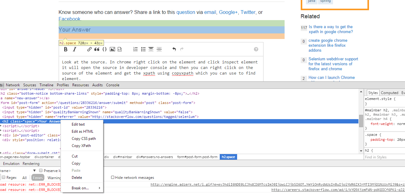 Googlechrome  How to get Xpath in chrome that is same as