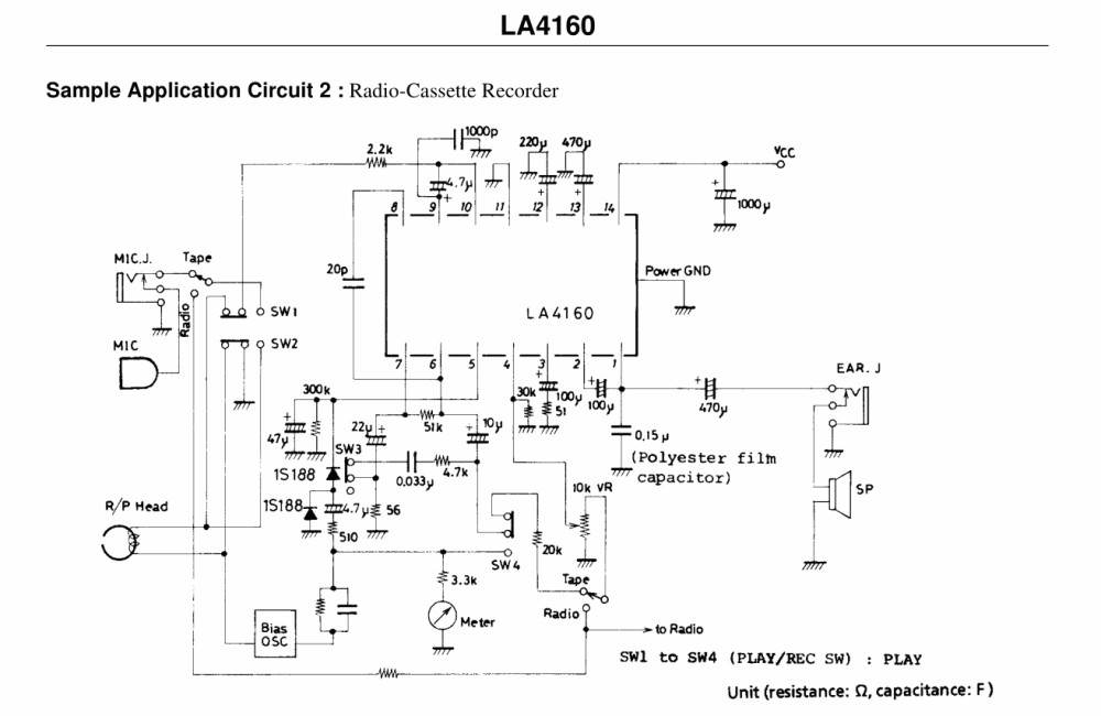 medium resolution of  la4160 cassette recorder circuit