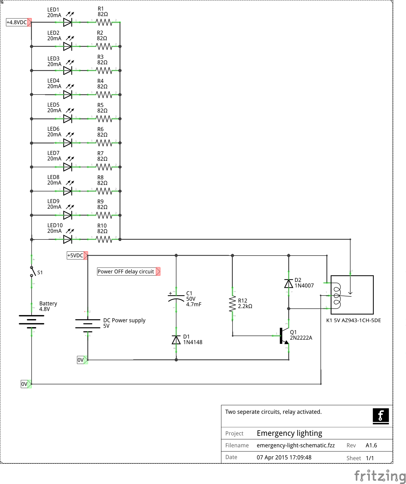 hight resolution of corrections changed relay symbol to spst revision change changed parts designations emergency led lighting schematic