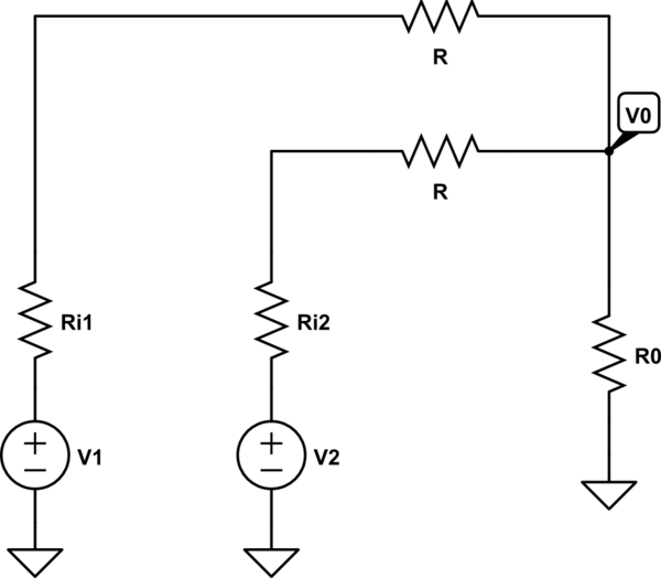 Summing two voltages without the use of an operational