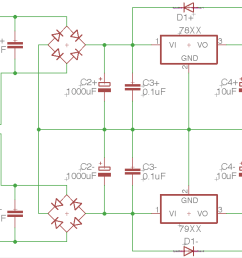 building a dual rail regulated dc power supply 1 diode bridge how to build dual regulated power supply circuit diagram [ 2580 x 1484 Pixel ]