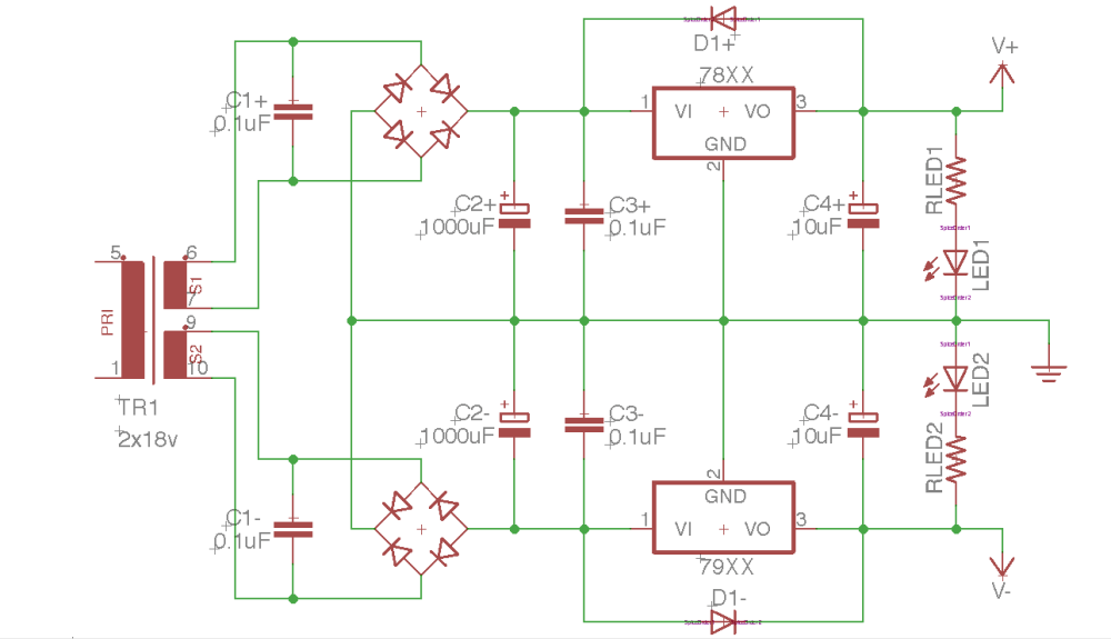 medium resolution of building a dual rail regulated dc power supply 1 diode bridge how to build dual regulated power supply circuit diagram
