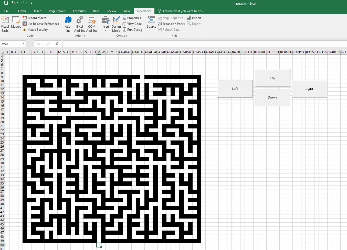 Excel Vba Playable Maze Making Cells Interpret As Walls