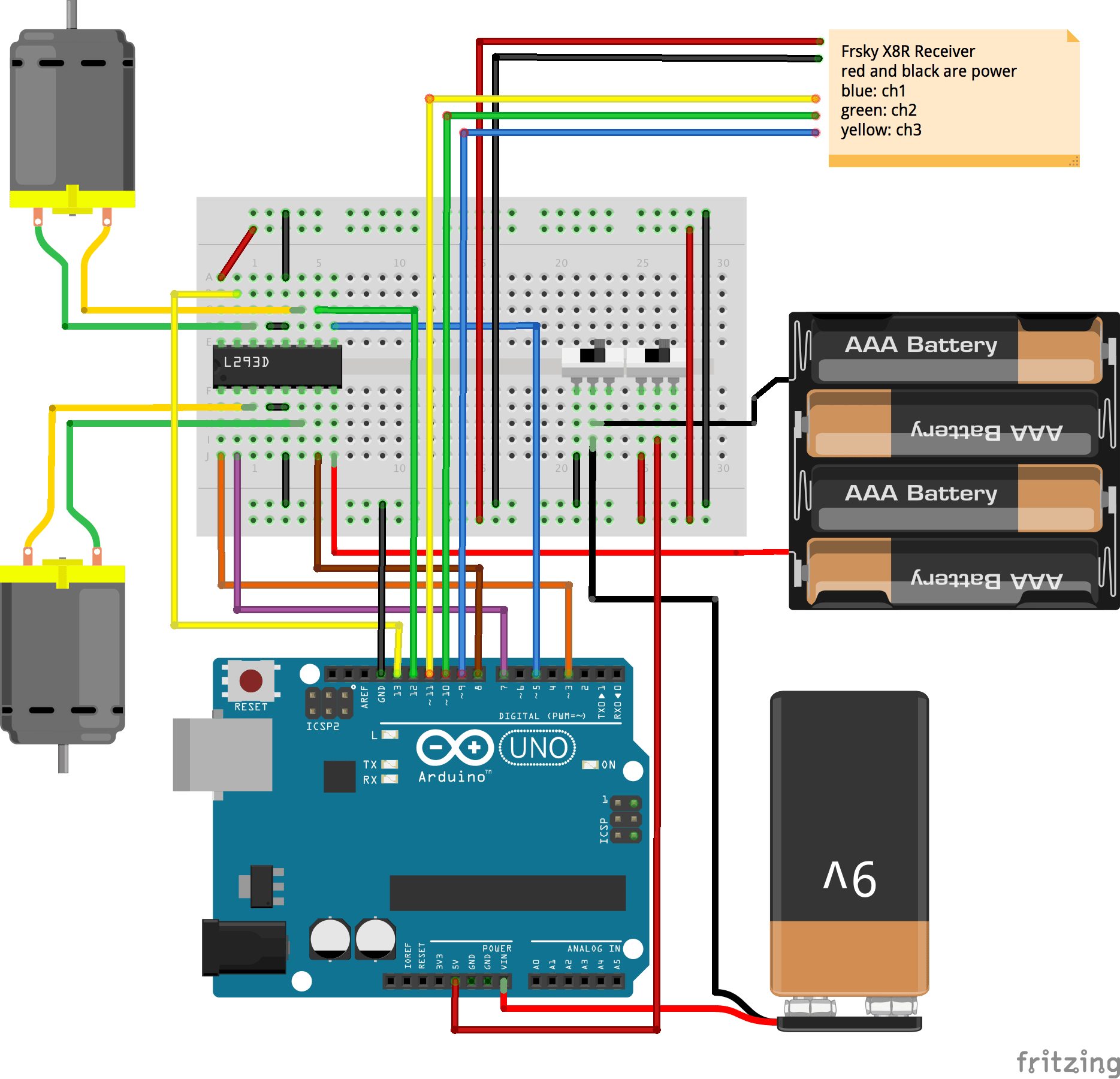 hight resolution of fritzing wiring diagram of circuit with 9 volt and 6 volt grounds wired to same switch