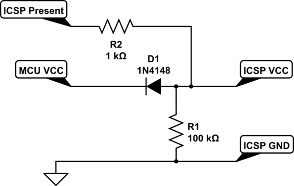 Detecting when AVR ICSP header has a cable connected