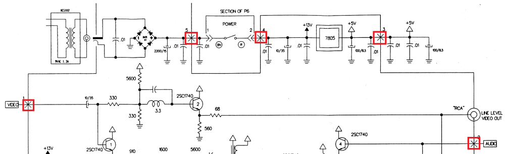 medium resolution of what are these x s crosses on this schematic s wiring traces besides dish work rf modulator on rf modulator wiring diagram