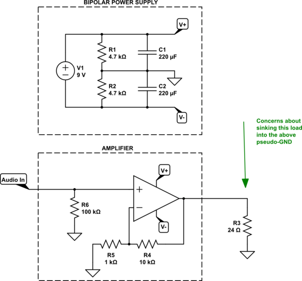 virtual ground serving as a circuit point