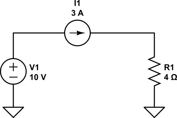 Ohm's Law of a circuit which have both Voltage Source and