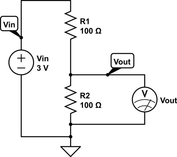 For a voltage divider circuit, why does \$V_{out} = I