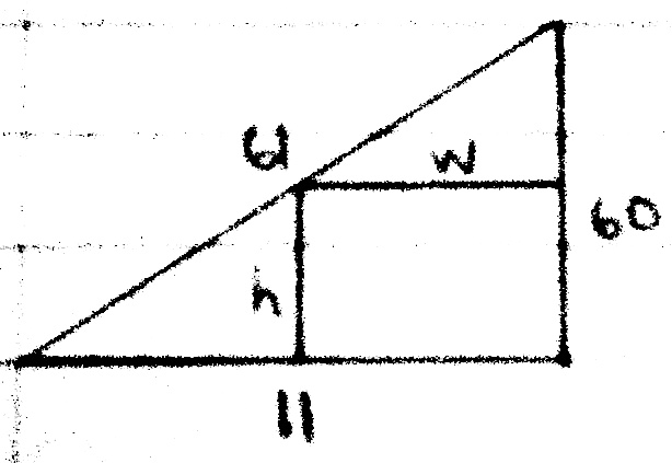 Optimization problem (rectangle inscribed in a right