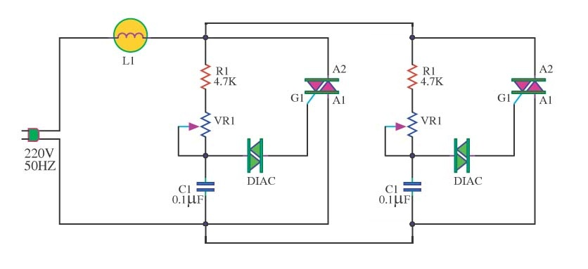 Two or more Diac Triac dimmers in parallel