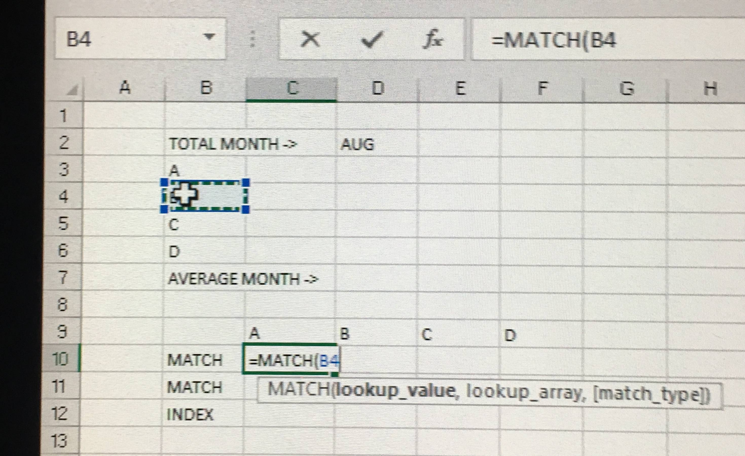 Match Function Excel