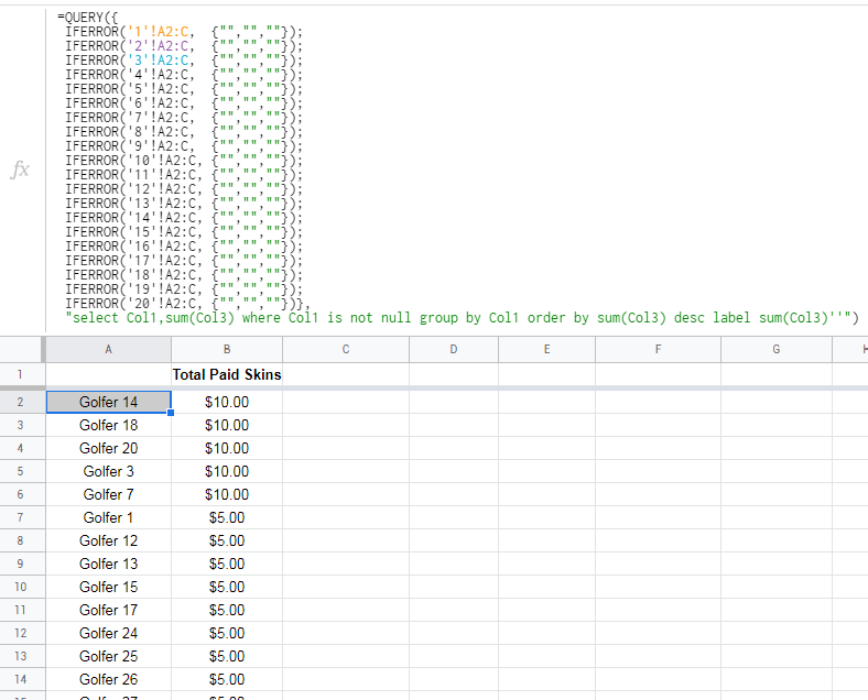Look up data across many sheets in the same workbook