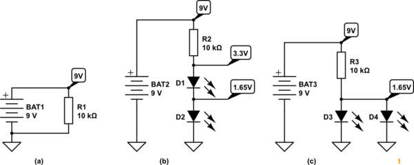 Different voltage drop in serial and parallel circuit with
