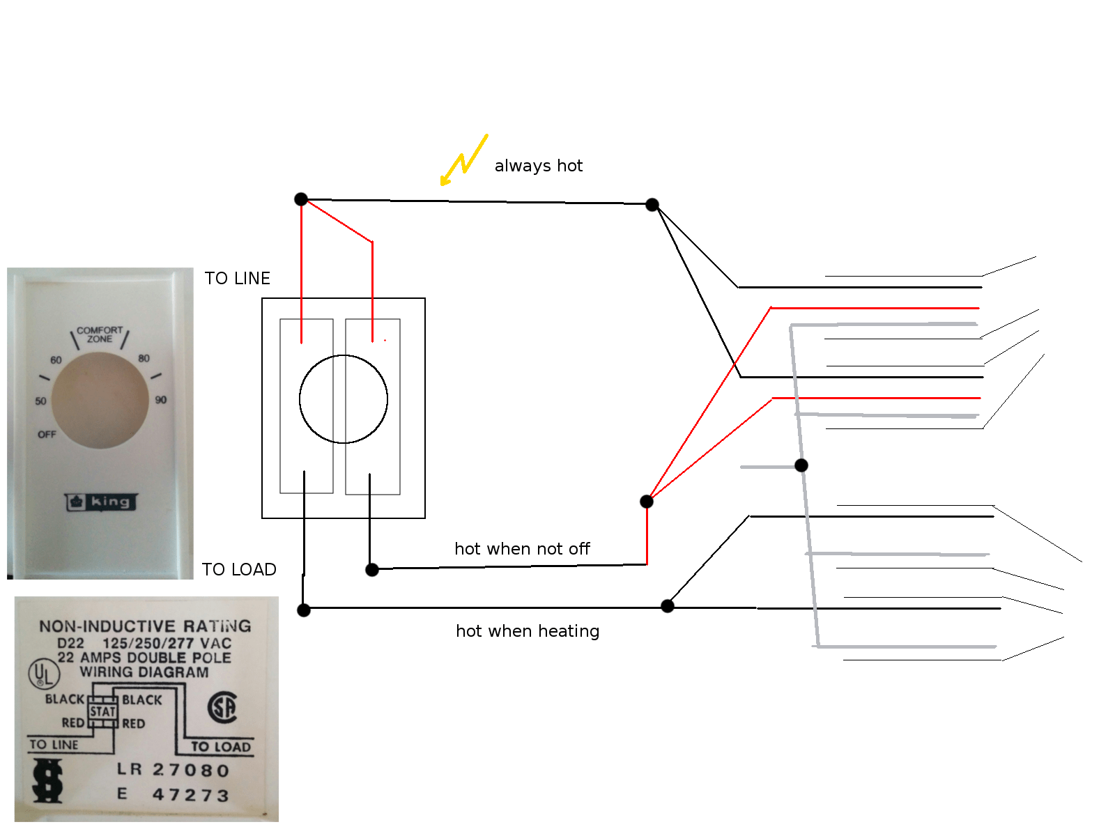 two pole switch wiring diagram basketball court for plays installing double line voltage thermostat