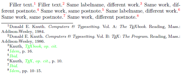 Citing Biblatex Strictly Identical Footnote Citations