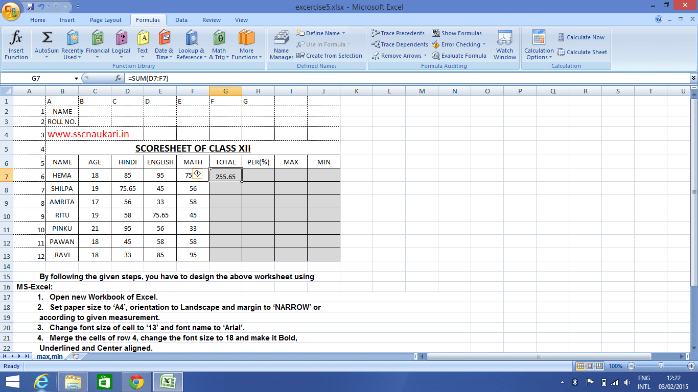Formula Sum In Excel