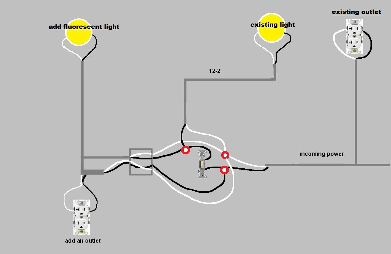 wiring diagram receptacle to switch light 220v single phase motor how add more and outlets in garage