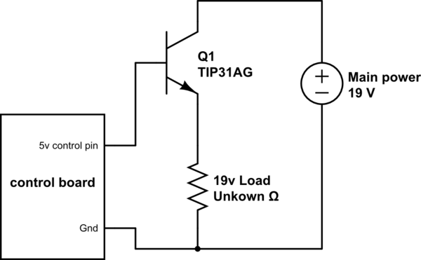Using a power transistor upstream of a load (control VCC