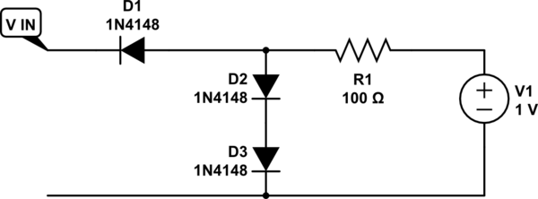 Diode circuit analysis with two diodes in series