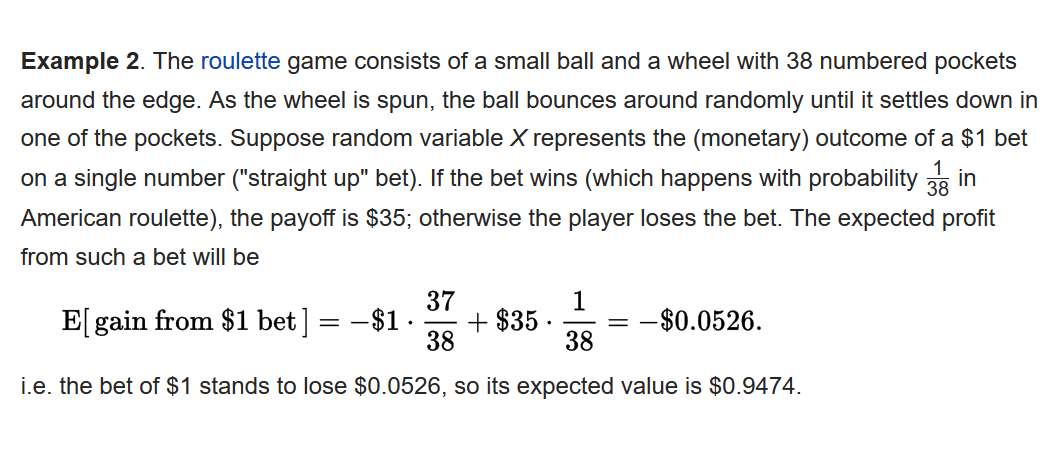 probability - Expected gain from a game of roulette ...