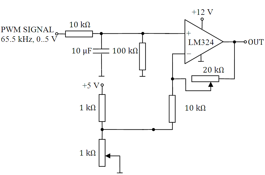 circuit to convert a pwm signal generated by an arduino to a dc
