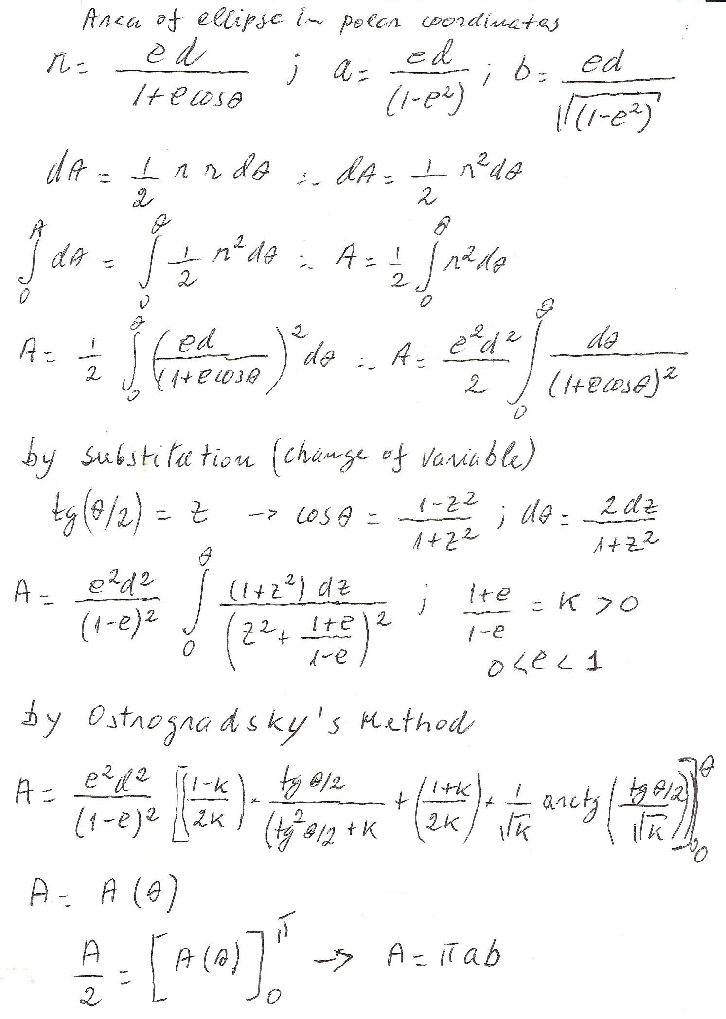 Equation For Ellipse In Polar Coordinates