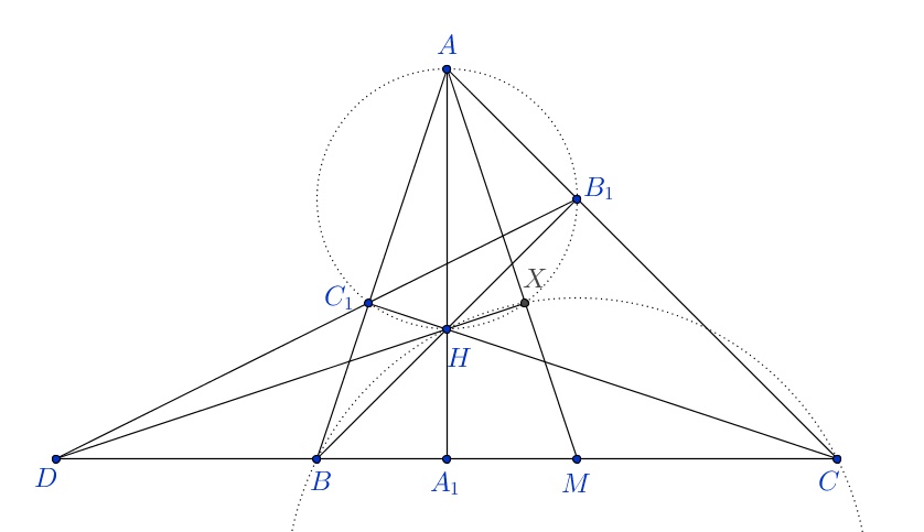 Geometry problem involving orthocentre and midpoint of