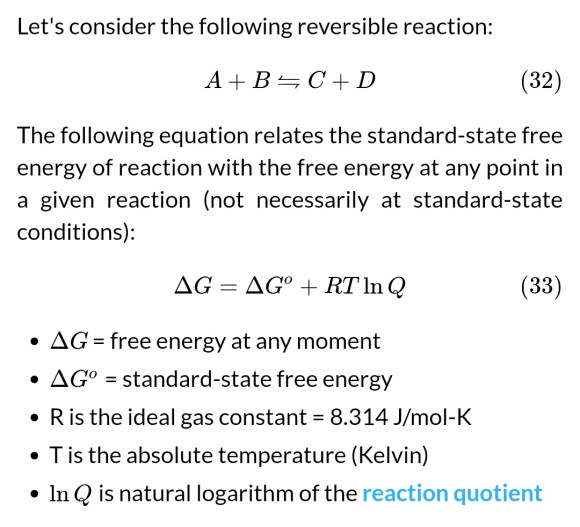 Reaction quotient and Gibbs free energy at the start of a reaction ...