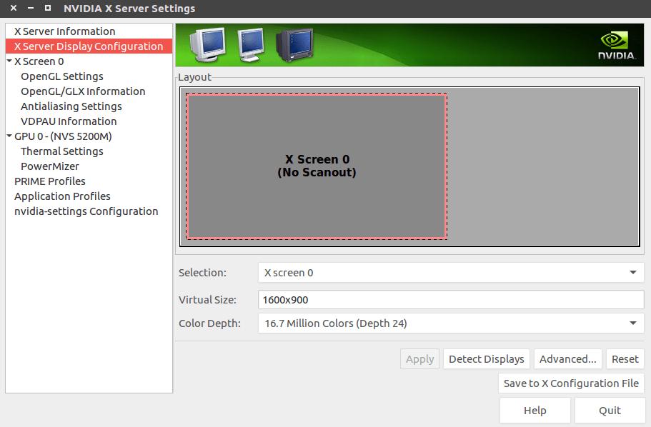 drivers - Ubuntu 16.04 -- NVIDIA X Server Display Configuration ( No Scanout) - Ask Ubuntu