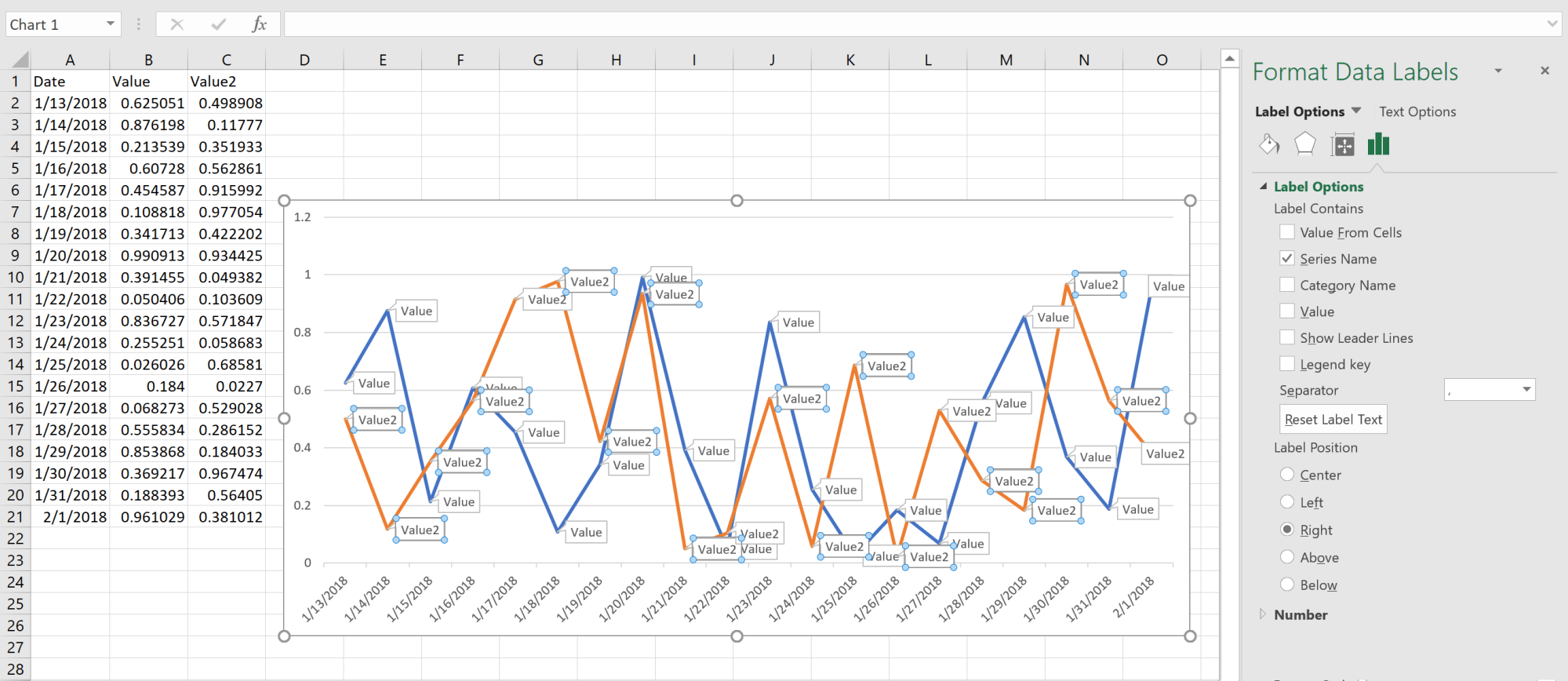 hight resolution of adding data label only to the last value