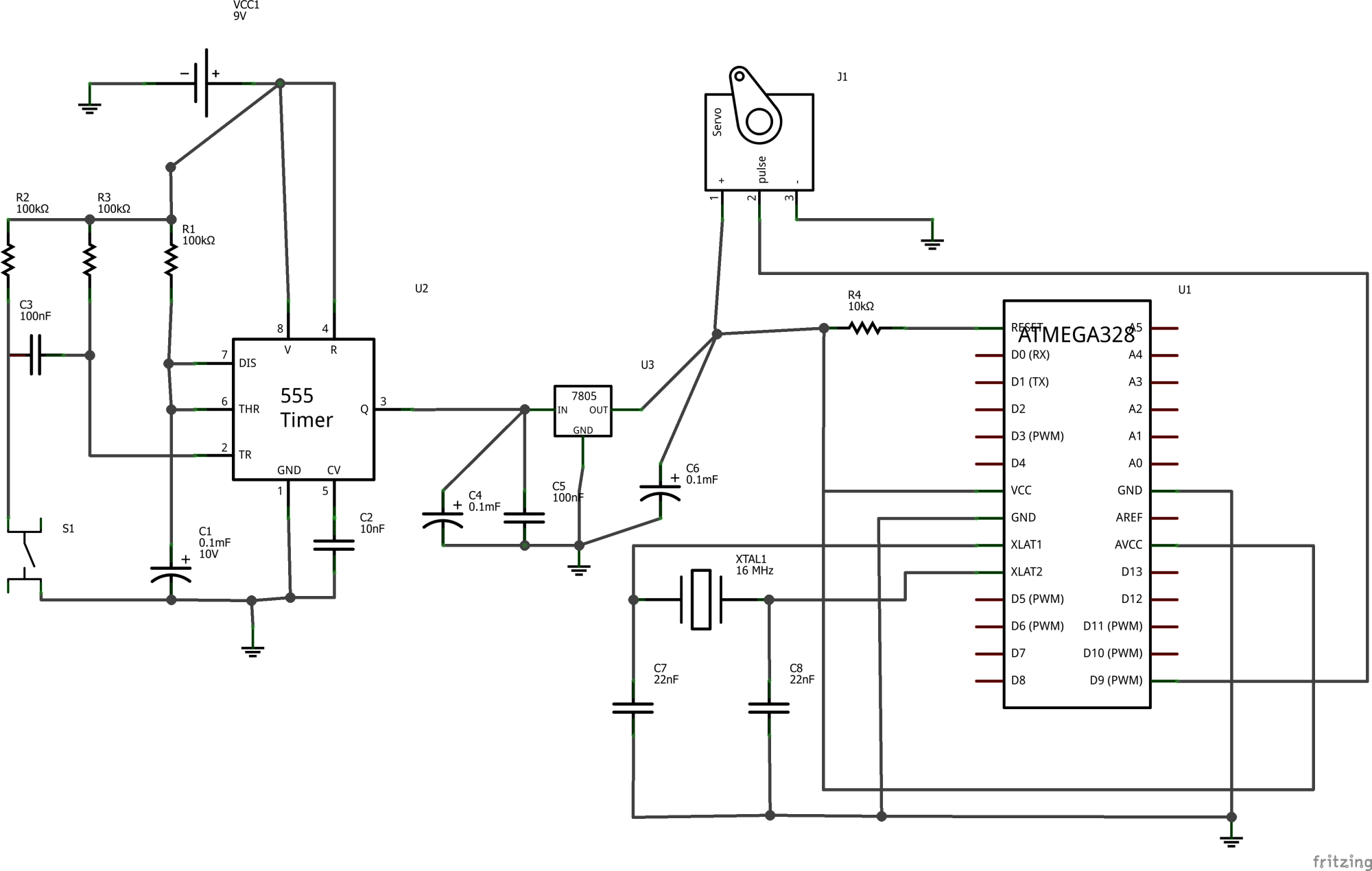 hight resolution of for a little explanation when the button is pressed the c is powered for about 10 sec the c contains code that moves the servo