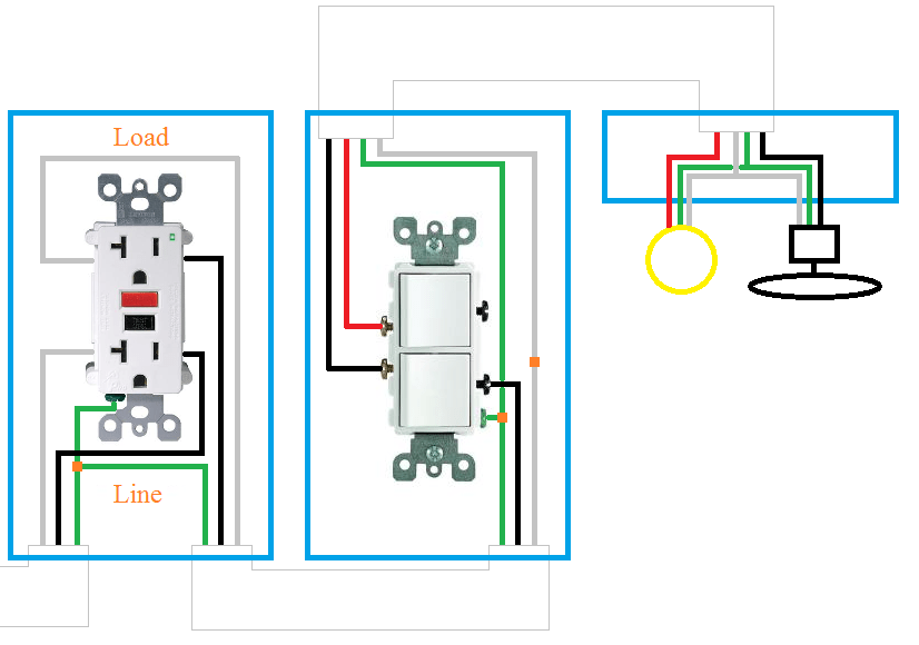 double outlet wiring diagram fire escape plan electrical how can i rewire my bathroom fan light and receptacle enter image description here