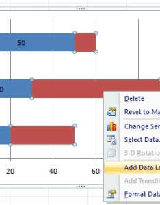 In playing with excel it looks like you can right click on the dataset and select add data label    not sure how to replicate what have exactly also placing labels points  stacked bar chart rh superuser