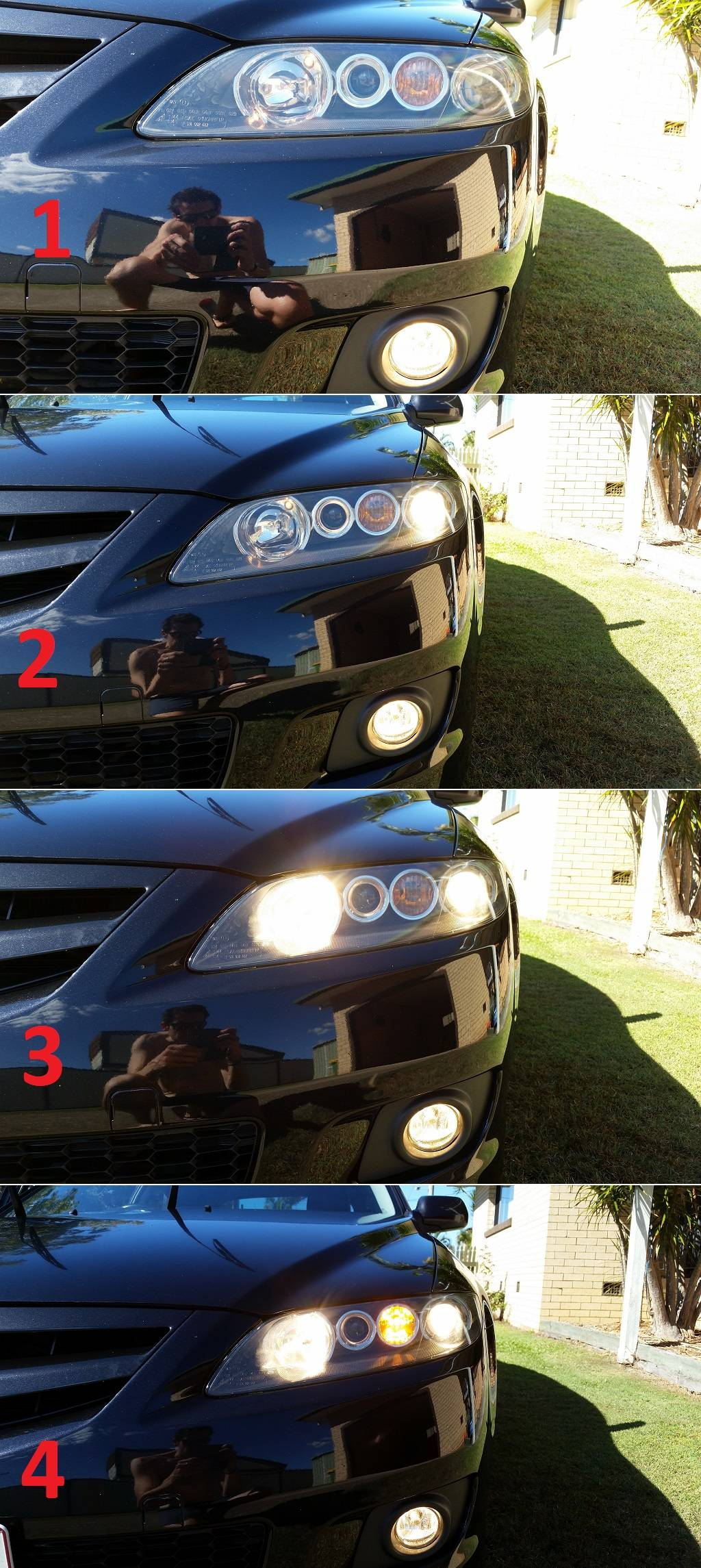 hight resolution of front headlights lights on