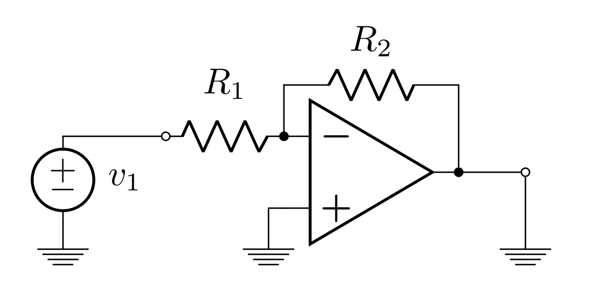 hight resolution of  begin circuitikz ctikzset bipoles length 1cm draw 0 0 node op amp opamp opamp to r l r 1 o 2 0 35 3 0 35 to v v 1 3