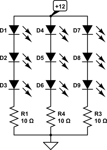 9x 1W LED's parallel + series resistor calculation help