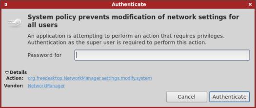 Polkit password prompt