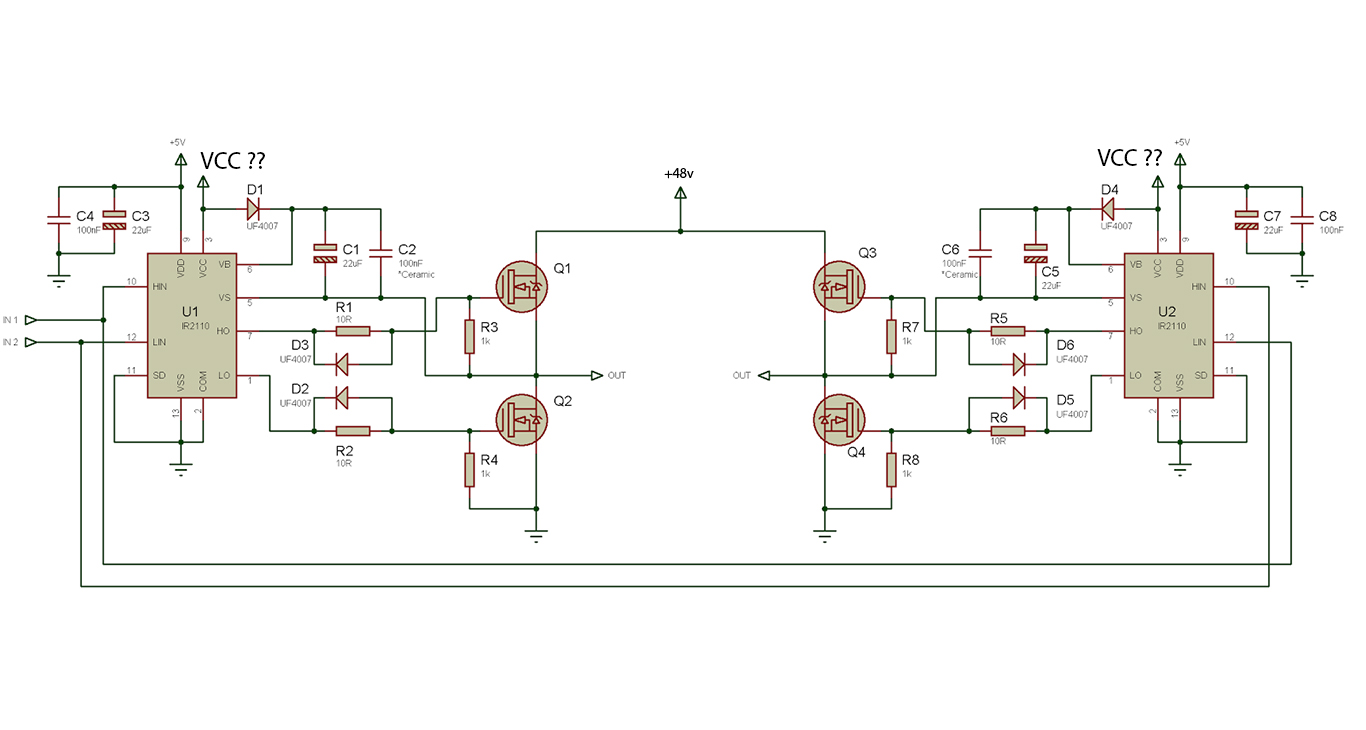 hight resolution of choose vcc for mosfet driving a 48v motor