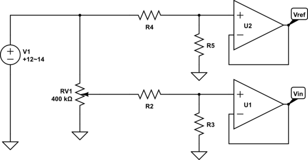 Reading a potentiometer with an unknown voltage