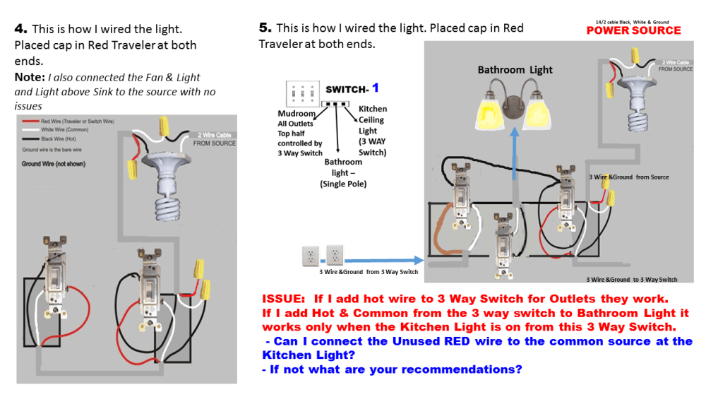 medium resolution of electrical how can i add wiring to get my three way switch to work correctly wiring a 3 way switch properly wiring a 3 way switch