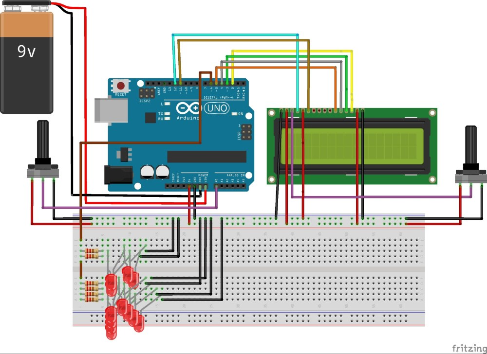 medium resolution of led array with potentiometer lcd and arduino