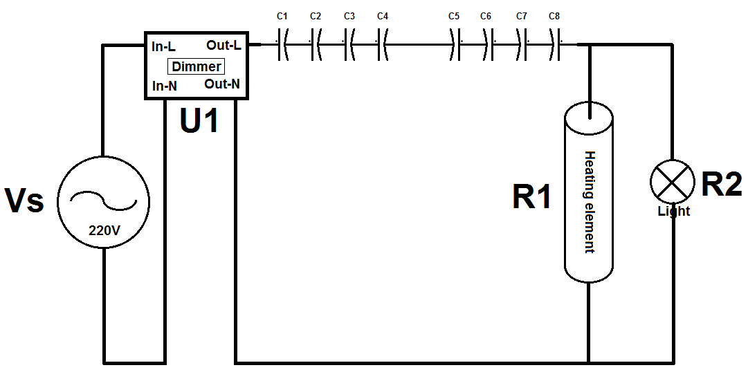 Reducing voltage/current of AC circuit with makeshift bi