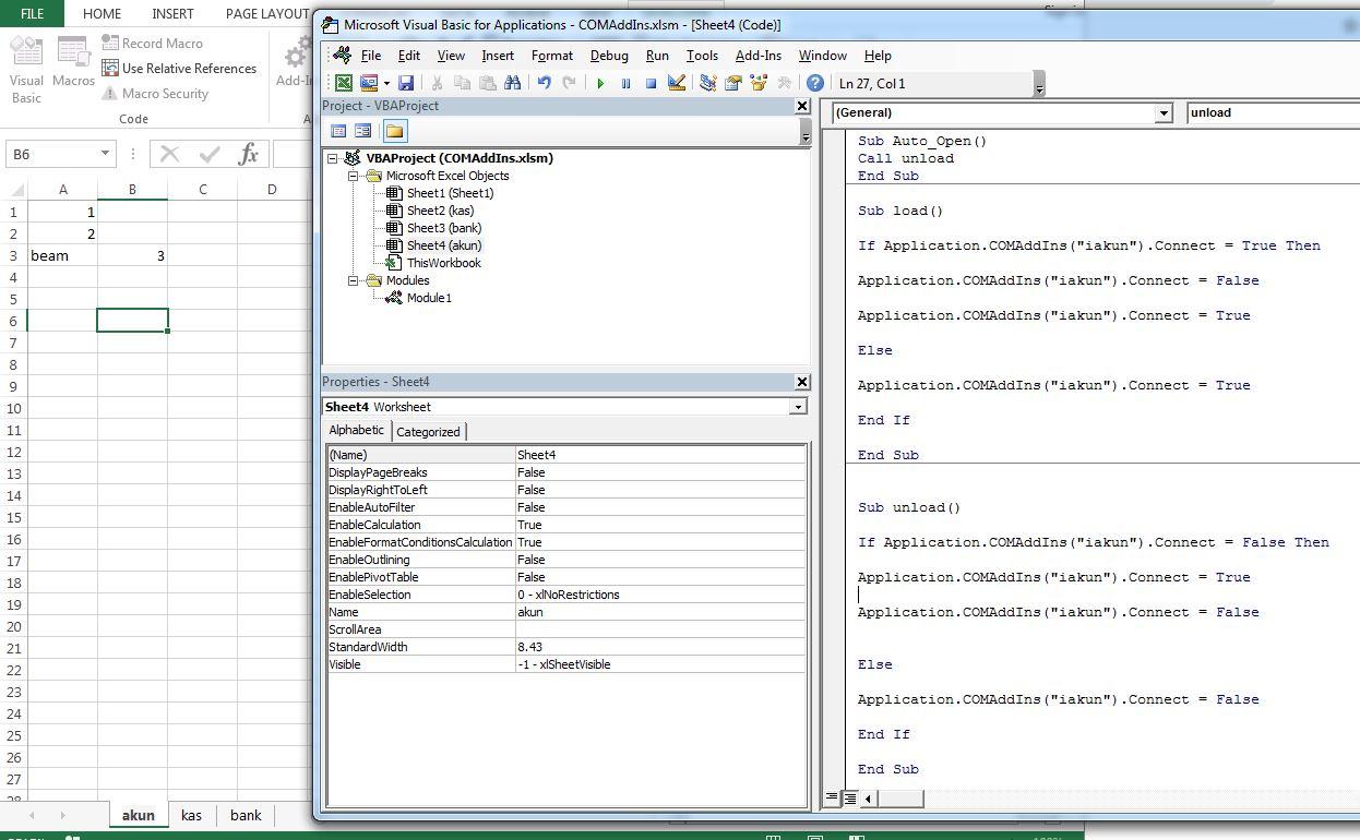Auto Load Addin Call Vba In Sheet Excel