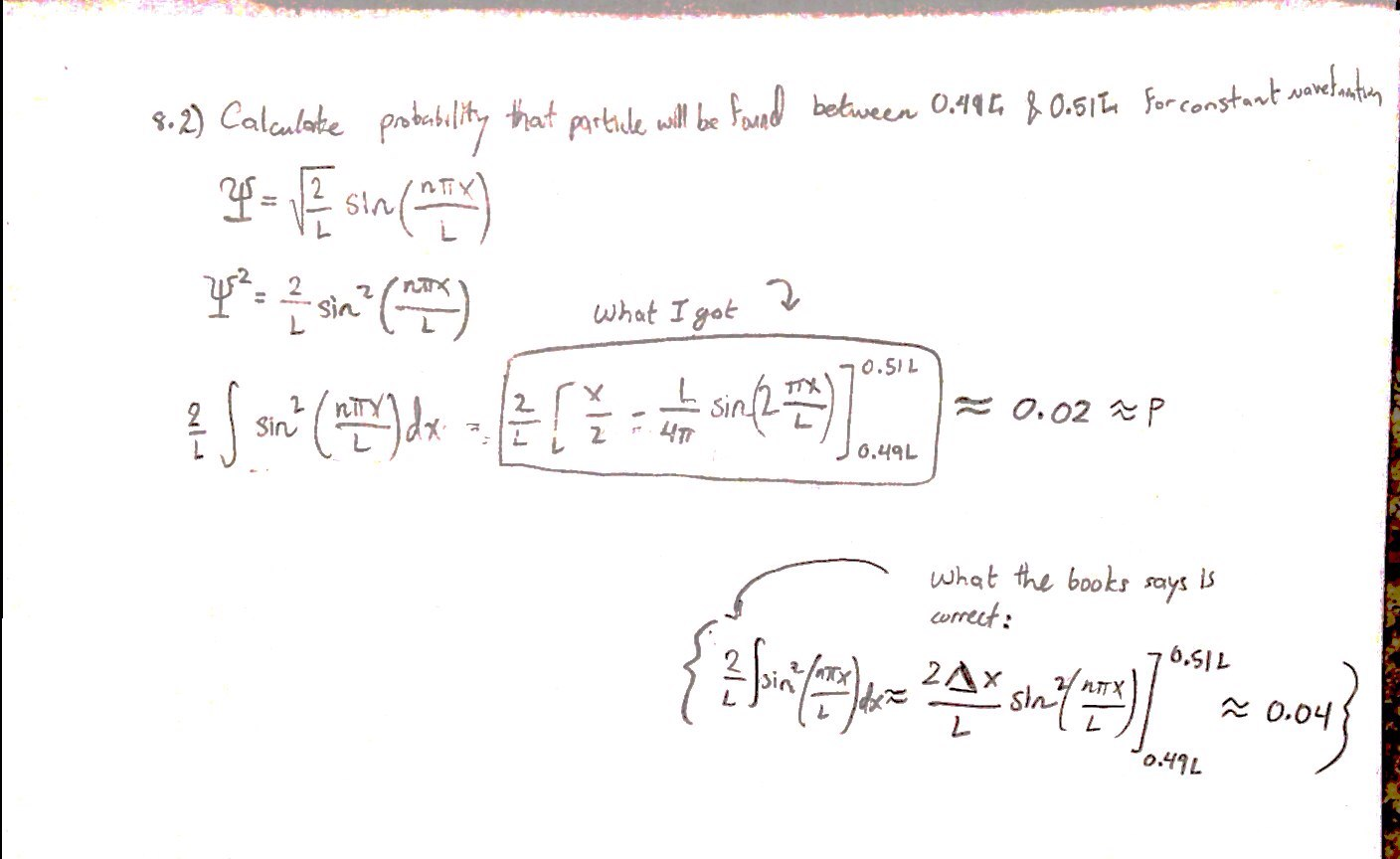 hight resolution of wavefunction problem wrong in solutions manual closed