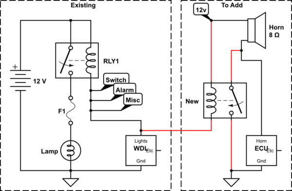 horn switch grounding relay wiring