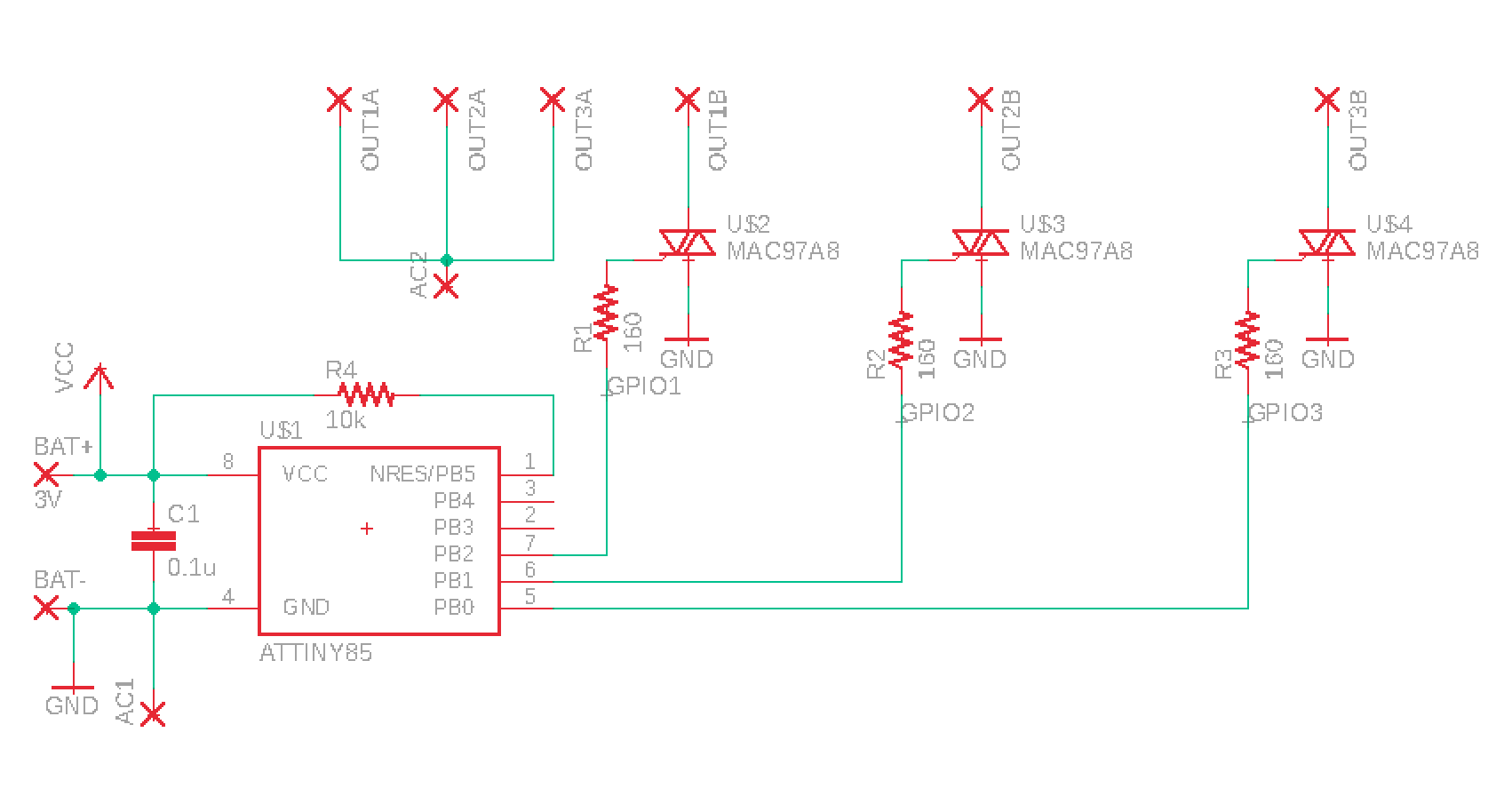 hight resolution of my triac turns on when gate attached to vcc good but also when connected to ground bad