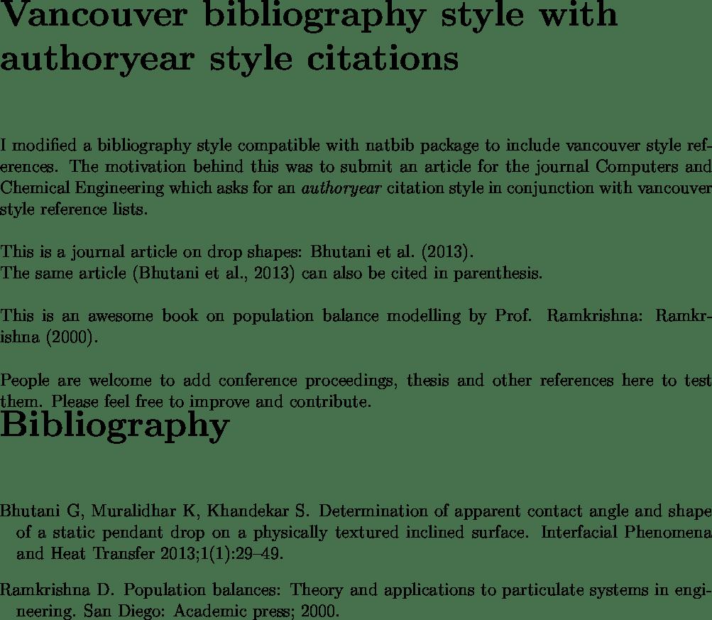 Bibtex Bibliography Style Vancouver TeX LaTeX