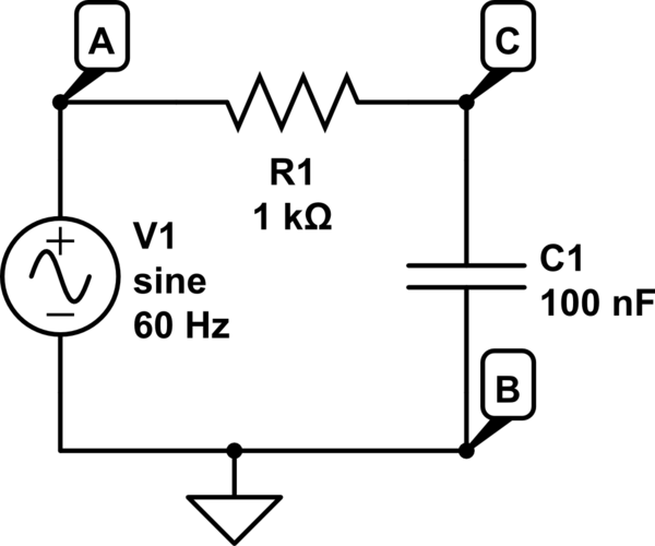 Need to understand AC current resistor/capacitor circuit