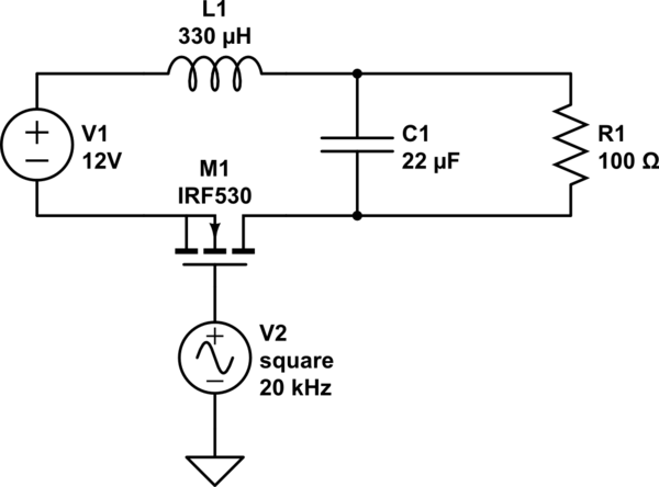 Problem with simulating LC filter with N channel MOSFET